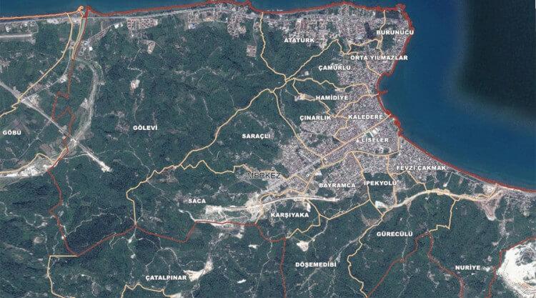 Ünye Mahalleleri Haritası