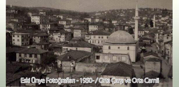 1950'li yıllarda çekilmiş; Orta Camii civarını gösteren bir fotoğraf.